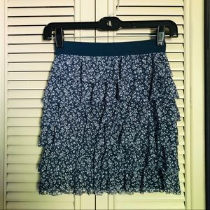 Abercrombie tiered mini skirt in blue floral